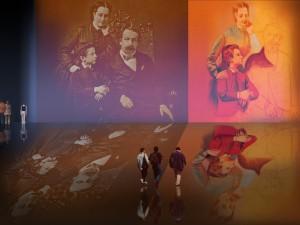 Familia de Napoleón III, fotografía decimonónica (1856), reelaboración de Pablo Picasso (1919).