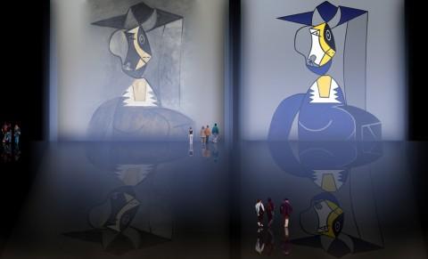 Mujer en Gris, caracterización de Pablo Picasso (1942), recreación de Roy Lichtenstein (1962).