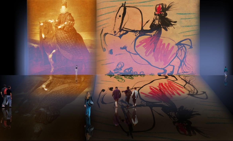 Equitación, descripción de Diego Velazquez (1634), abstracción y reinterpretación de Pablo Picasso (1961).